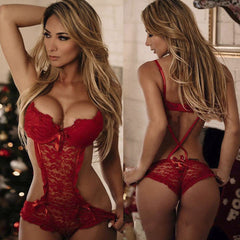 Lace Lingerie Strappy Bodysuit Set UK 6- 12