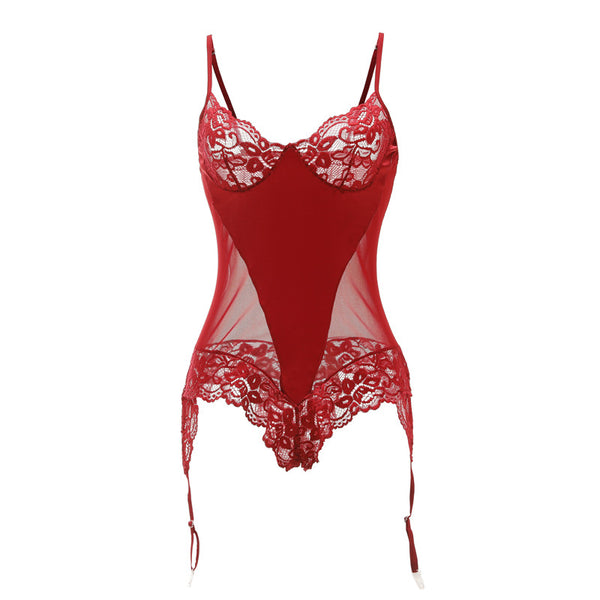 Luxury Red/Black Valentines Lace and Satin Bodysuit UK size 12-14
