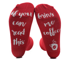 "Red Novelty Socks: ""If you can read this Bring me a Coffee"""