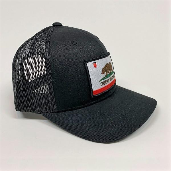 "Cheers Beaches Accessories California Bear Flag ""Cheers Beaches"" Trucker Hat: Black on Black"