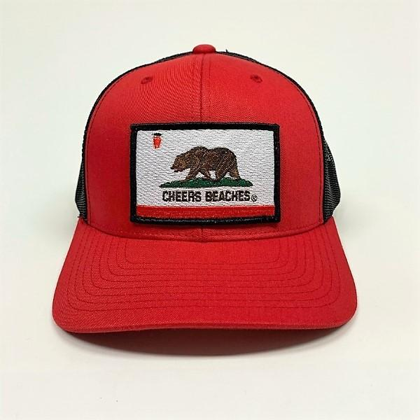 "Cheers Beaches Accessories California Bear Flag ""Cheers Beaches"" Trucker Hat: Red & Balck"