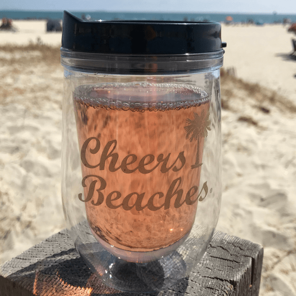 Cheers Beaches Accessories Cheers Beaches 16 oz. Double Walled Gold Palm Travel Glass.