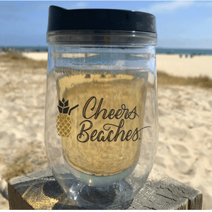 Cheers Beaches Accessories Cheers Beaches 16 oz. Double Walled Pineapple Travel Glass.