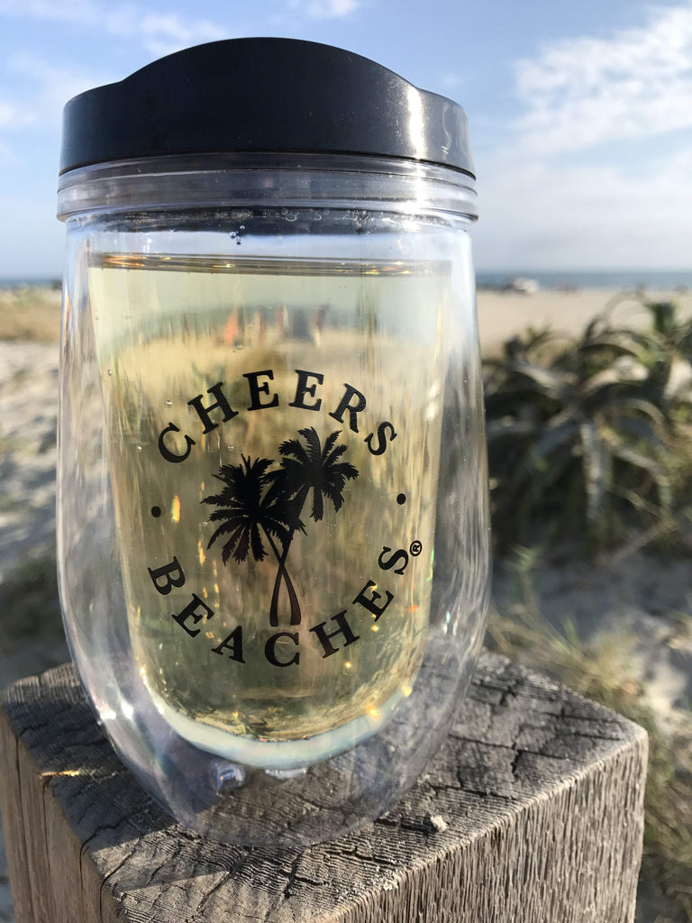 Cheers Beaches Accessories Cheers Beaches 16 oz. Double Walled Wedding Palm Travel Glass.