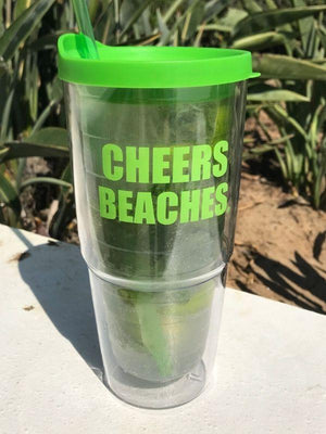 Cheers Beaches Accessories Cheers Beaches 24oz. Double Walled Bold Green Tumbler.