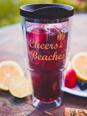 Cheers Beaches Accessories Cheers Beaches 24oz. Double Walled Golden Palm Tumbler.