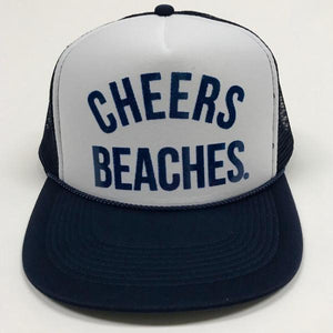 "Cheers Beaches Accessories ""Cheers Beaches"" Foam Trucker Hat: Navy & White"