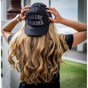 "Cheers Beaches Accessories ""Cheers Beaches"" Trucker Hat: Black & Glitter Silver"