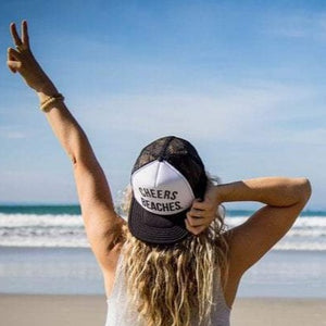 "Cheers Beaches Accessories ""Cheers Beaches"" Trucker Hat: Black & White"