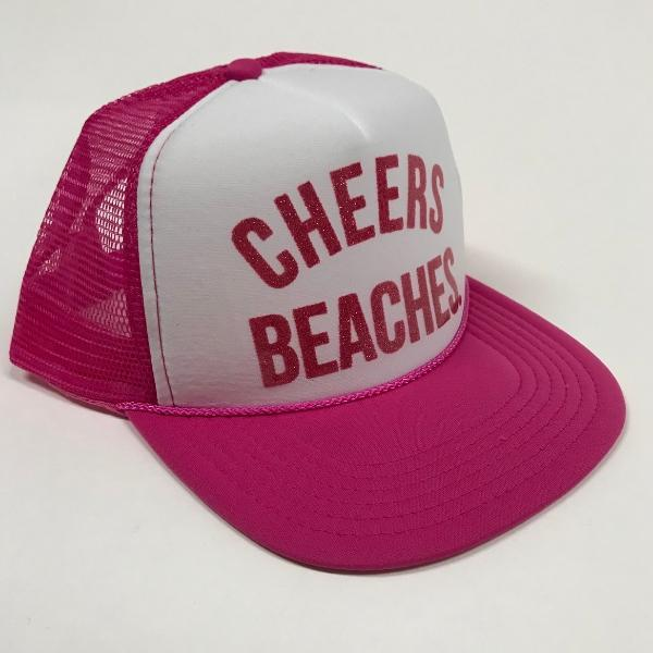 "Cheers Beaches Accessories ""Cheers Beaches"" Foam Trucker Hat: Pink & White"