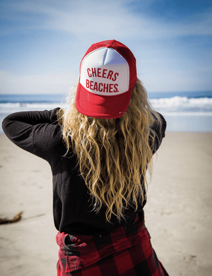 "Cheers Beaches Accessories ""Cheers Beaches"" Trucker Hat: Red & White"