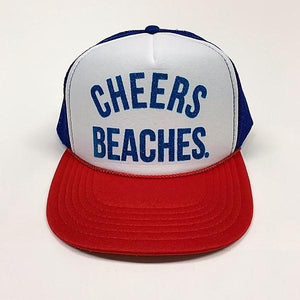 "Cheers Beaches Accessories ""Cheers Beaches"" Trucker Hat: Red, White & Blue: Blue Glitter"