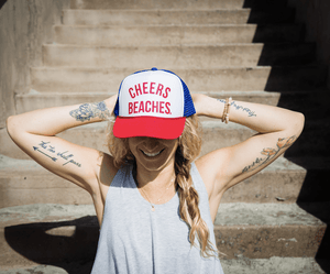 "Cheers Beaches Accessories ""Cheers Beaches"" Trucker Hat: Red, White & Blue: Red Glitter"