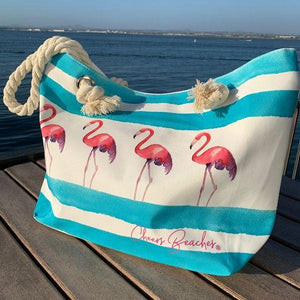 Cheers Beaches Accessories Flirty Flamingo Waterproof Beach Tote Bag