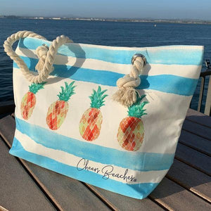 Cheers Beaches Accessories Pineapple Colada Waterproof Beach Tote Bag