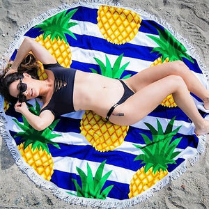Cheers Beaches Accessories Striped Pineapple Round Towel