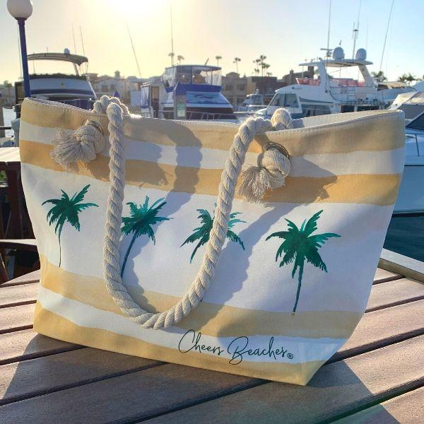 Cheers Beaches Accessories Sunshine Palms Yellow Waterproof Beach Tote