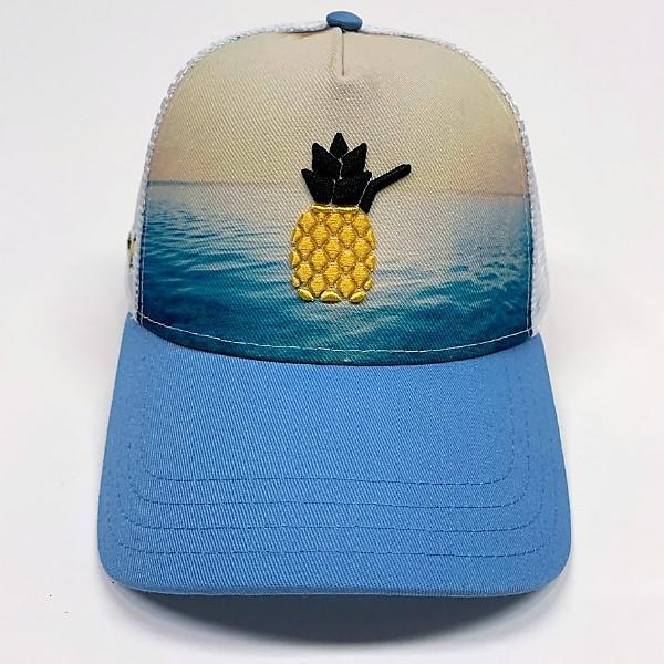 Cheers Beaches Accessories Universal / Ocean Blue Cheers Beaches Embroidered 3D Pineapple Beach Trucker Hat: Carolina