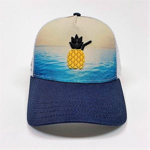Cheers Beaches Accessories Universal / Ocean Blue Cheers Beaches Embroidered 3D Pineapple Beach Trucker Hat: Ocean