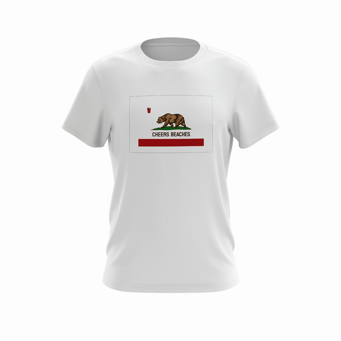 "Cheers Beaches Men California State Flag ""Cheers Beaches"" T-shirt"