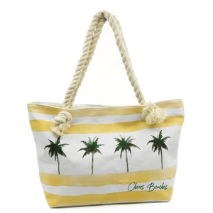 Cheers Beaches Sunshine Palms Yellow Waterproof Beach Tote