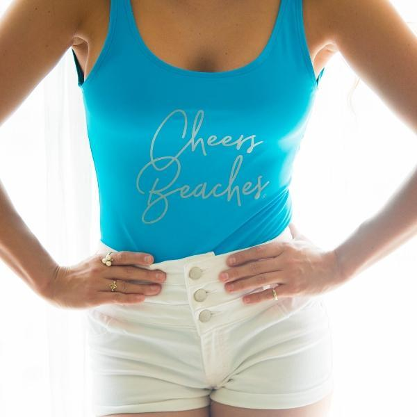 Cheers Beaches Swimwear S / Silver Cheers Beaches Blue One Piece Swimsuit: Script