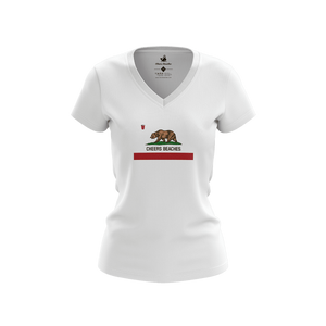 "Cheers Beaches Women California State Flag Women's ""Cheers Beaches"" V-Neck T-shirt"