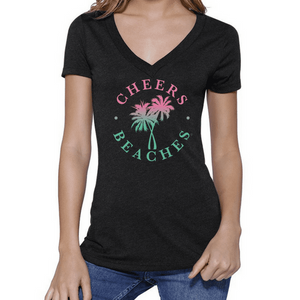 Cheers Beaches Women Cheers Beaches Distressed Palm Black V Neck