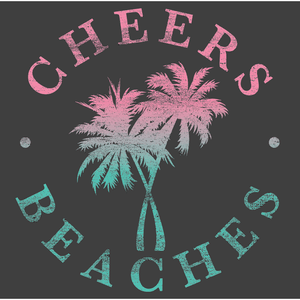 Cheers Beaches Women Cheers Beaches Distressed Palm Womans Muscle Tank