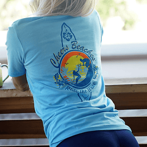 "Cheers Beaches Women Cheers Beaches ""Ride The Wave"" Surfer T-shirt"