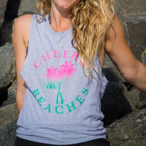 Cheers Beaches Women Small Cheers Beaches Distressed Palm Womans Muscle Tank