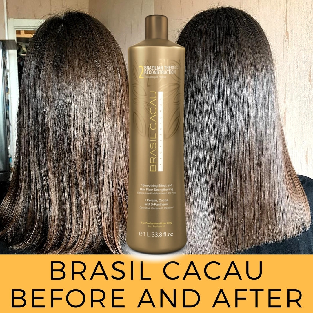 Brazilian Keratin Hair Treatment Smoothing Blowout Kit Cadiveu Brasil Cacau, 3 products 1L/33 fl.oz