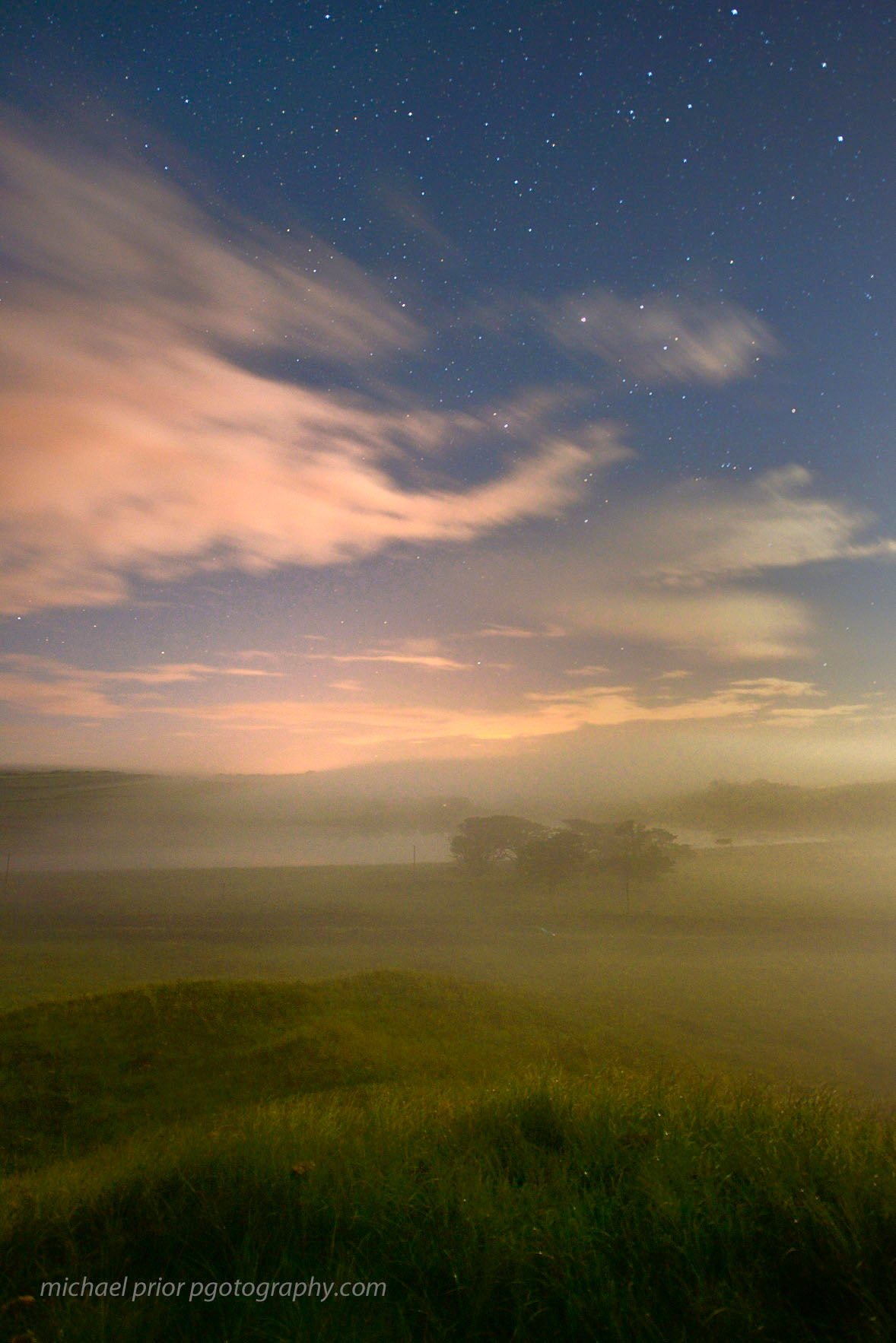 Long strand in misty moonlight