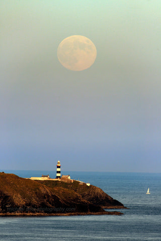 Full Moon Over The Old Head Of Kinsale Lighthouse - Michael Prior Photography