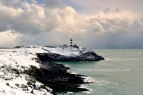 The Old Head Cliffs And Lighthouse In Snow - Michael Prior Photography