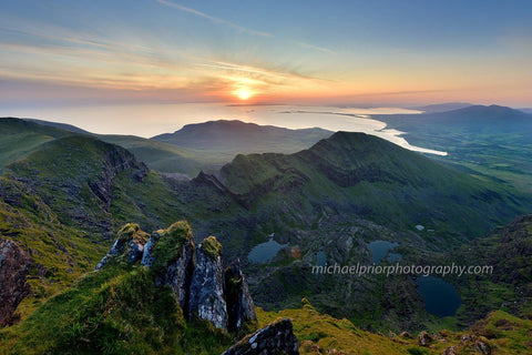 Mt Brandon at sunrise-looking down on Brandon bay - Michael Prior Photography