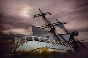 The Stranded Astrid Under A Clouded Full Moon - Michael Prior Photography
