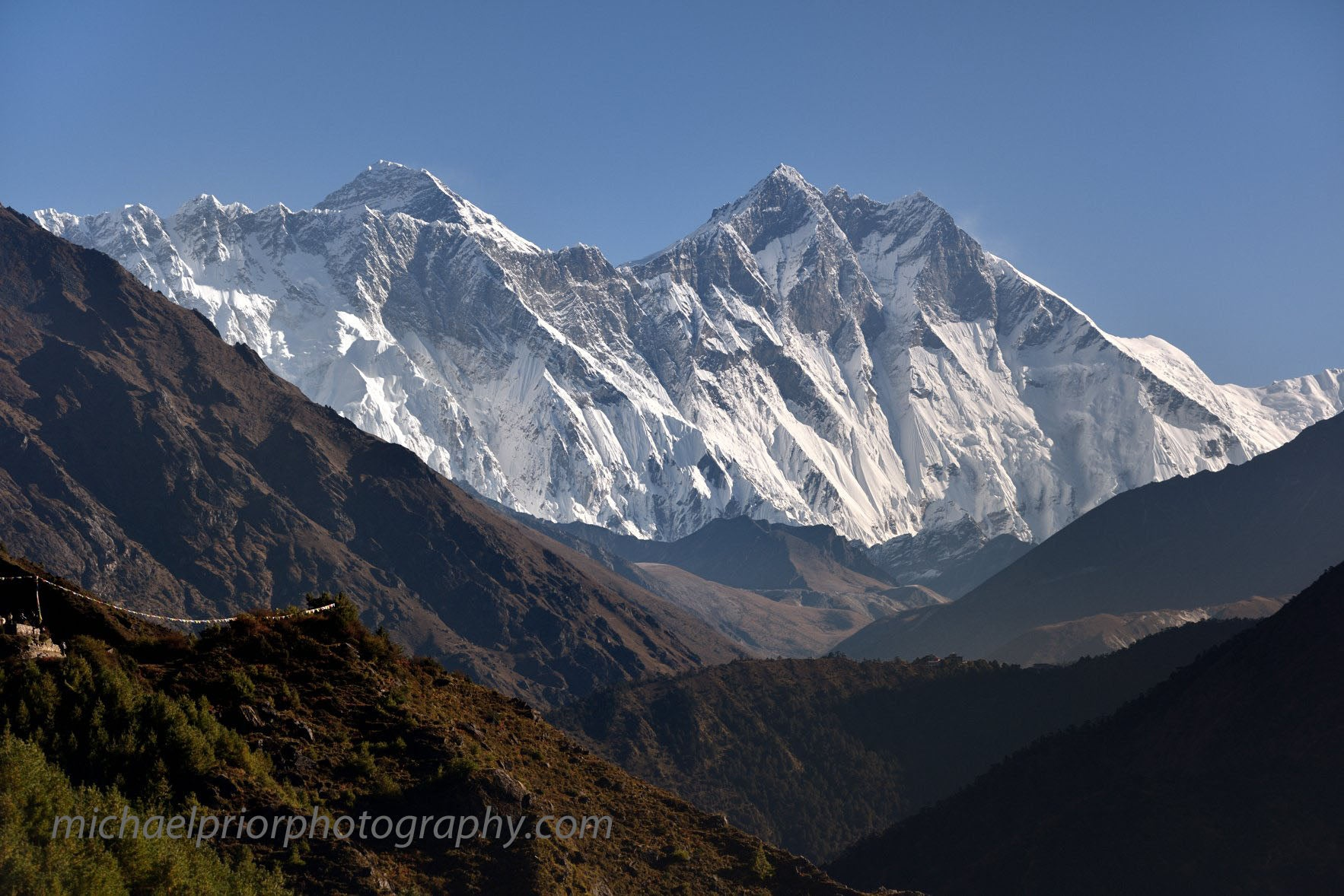 Mt Everest And Mt Lhotse Through The Valley