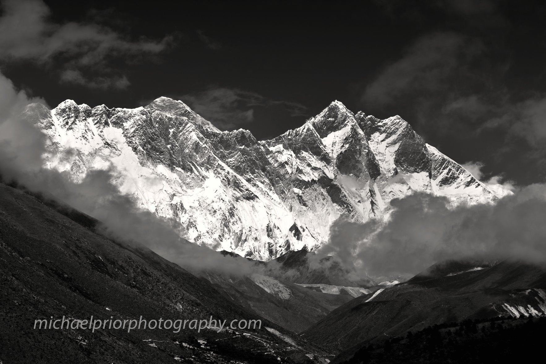 Mt Everest And Mt Lhotse In Black and white