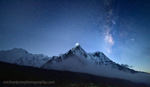Ama Dablam With The Milkyway And Moonlight