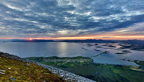 The Sun Setting Behind  Achill Island From The Top Of Croagh Patrick - Michael Prior Photography