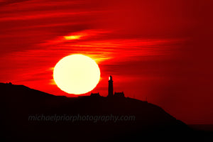 Sunrise Behind The Oldhead ,Silhouette With Red Sky - Michael Prior Photography