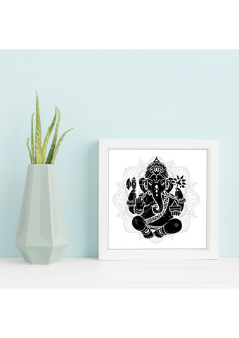 A5 Sized Black and White Ganesha Yoga Studio Decor -Yoga Gift - **Digital Download Only**