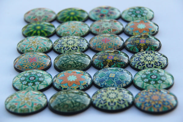Leaf Mandala Yoga Glass Refrigerator Magnets - Yoga giveaways 4 magnets for $10.002