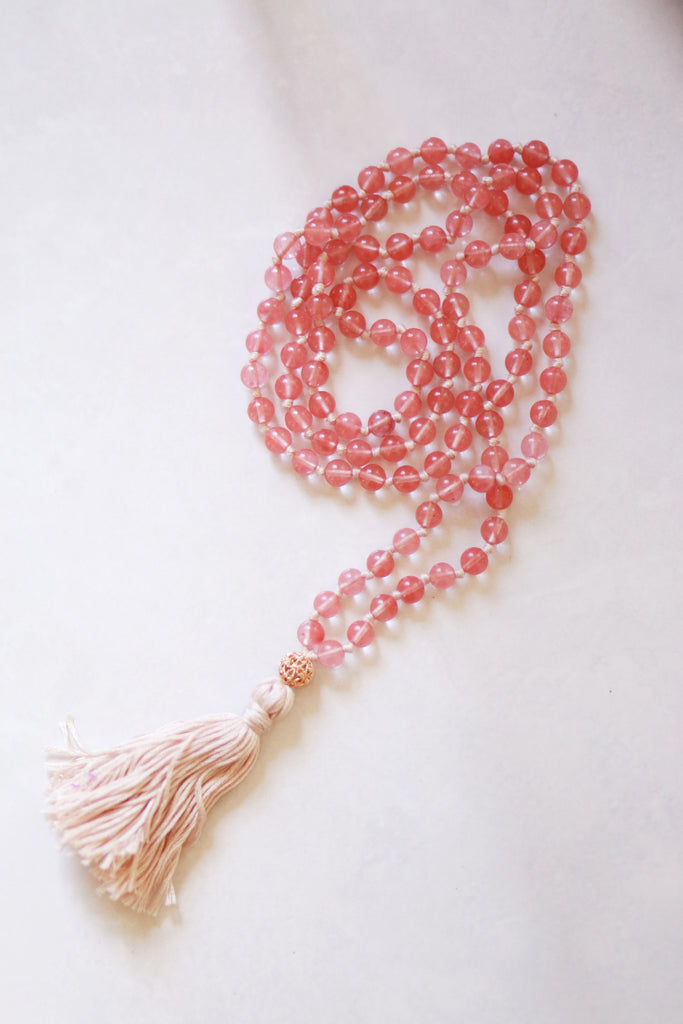 Knotted Long Cherry Quartz and Mala Necklace with Cotton tassel