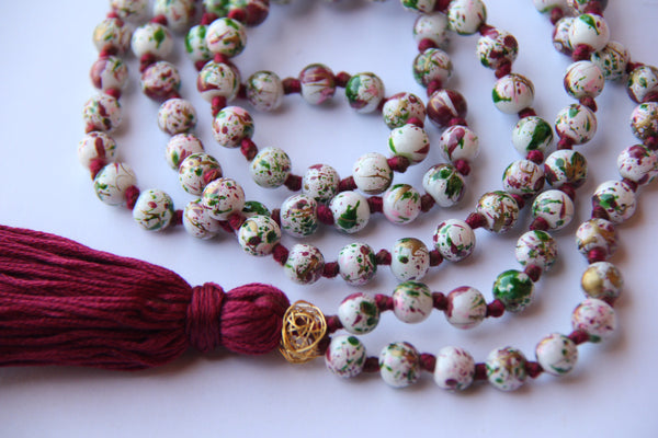 Long Knotted Mala Necklace w/ Wine Cotton Tassel Gold Guru Bead - Cracked Egg Shell Design