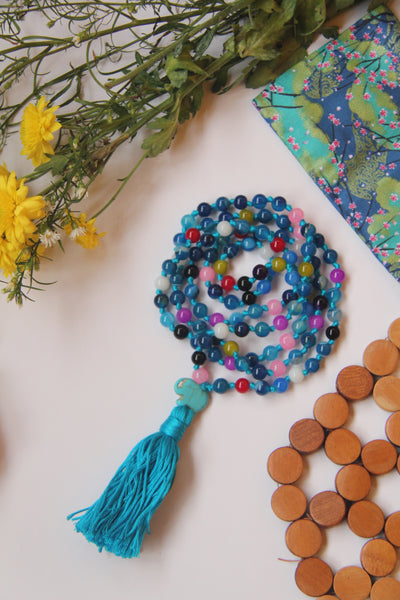 Long Knotted Mixed Beads Mala Necklace with Blue Cotton Tassel