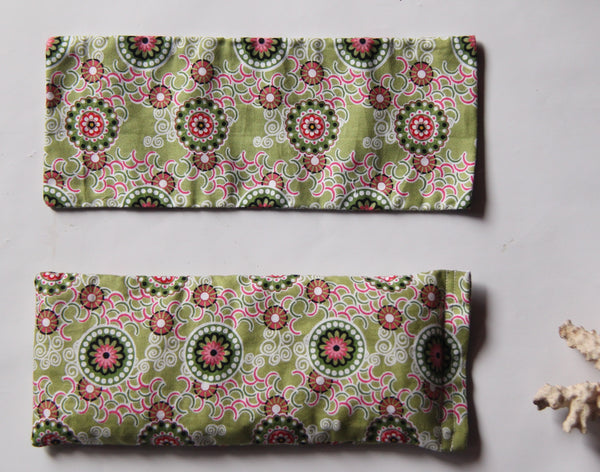 Eye Pillow with Washable Cotton Pillow Cover - Green Mandalas