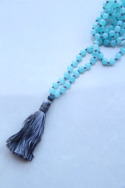 Long Knotted Blue Mala Necklace with Gray Cotton Tassel