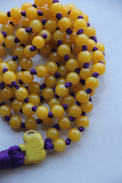 Long Knotted Yellow Mala Necklace with Purple Cotton Tassel